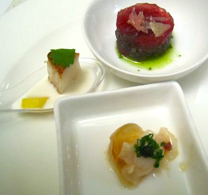 My seared scallop in a chilled coconut lime soup on the left was one of three amuse bouches served the night of the competition.