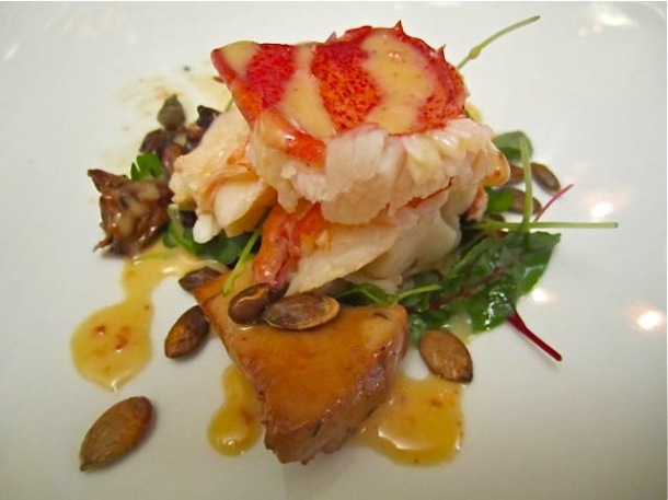 Chipotle Beurre Blanc Glazed Lobster with Chanterelles on a bed of Micro Greens