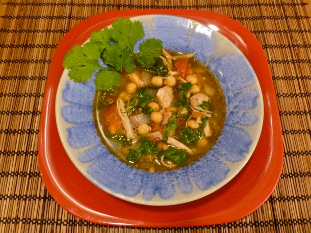 This is a easy and fast soup to make with chicken, beet greens and garbanzo beans. Photo by Christine Willmsen