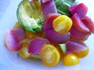 Beet, tomato and avocado salad only takes minutes to prepare. Photo by Christine Willmsen