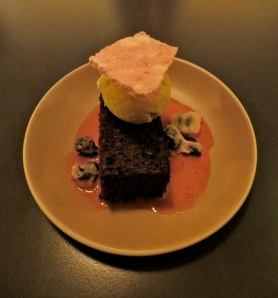 Ginger cake with vanilla ice cream, blood orange intrigued several guests because of the candied olives. Photo by Christine Willmsen