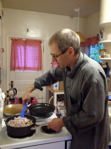 Mycologist Matt Ironside stirs up a creamy morel mushroom risotto for dinner after our blind tasting. Photo by Christine Willmsen