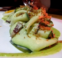 Zucchini salad with tarragon dressing, bacon and bread crumbs, photo by Christine Willmsen