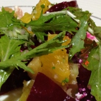 Beet salad with rhubarb, feta and mizuna, photo by Christine Willmsen